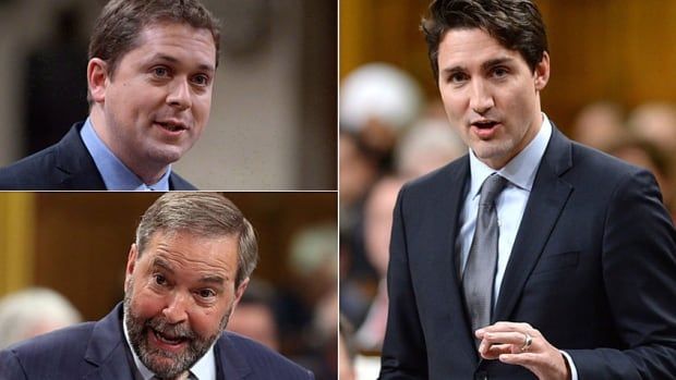 Prime Minister Justin Trudeau, right, faces off in question period against Leader of the Opposition Andrew Scheer, top left, and NDP Leader Tom Mulcair.