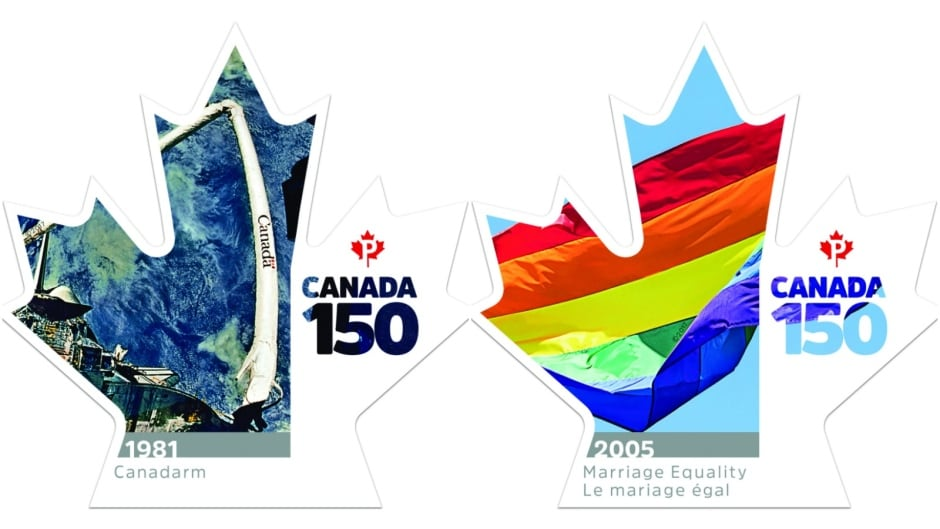 Canada 150 stamps - Canadarm and Marriage Equality