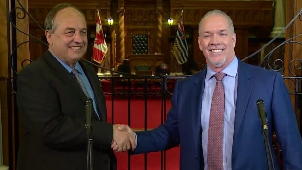 Green Party Leader Andrew Weaver, left, and NDP Leader John Horgan shake hands on May 29 after announcing an agreement for the Greens to support the NDP in the B.C. Legislature for the next four years.
