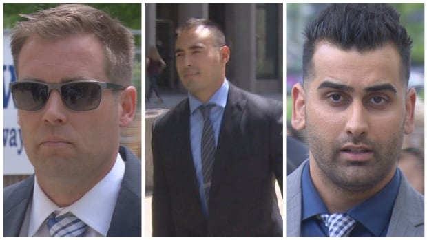Toronto police officers Leslie Nyznik, Joshua Cabero and Sameer Kara are charged with sexually assaulting a female colleague.