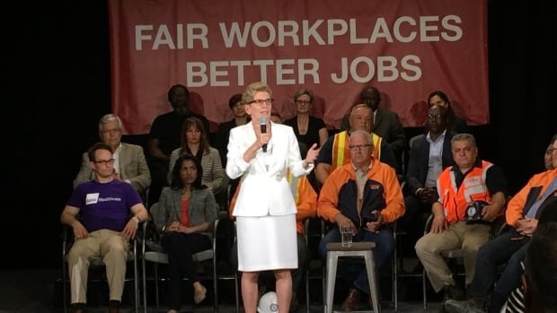 """We need to address the concerns of those who worry about falling behind, even as they work so hard to get ahead,"" said Ontario Premier Kathleen Wynne in announcing changes to the province's workplace laws and a $15 minimum wage."