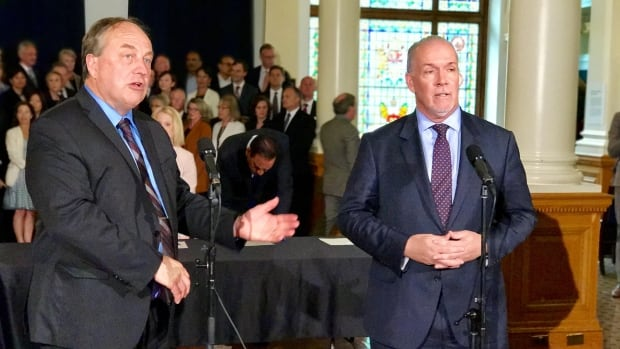 Green Leader Andrew Weaver and NDP Leader John Horgan announced the two parties' alliance platform on Tuesday.