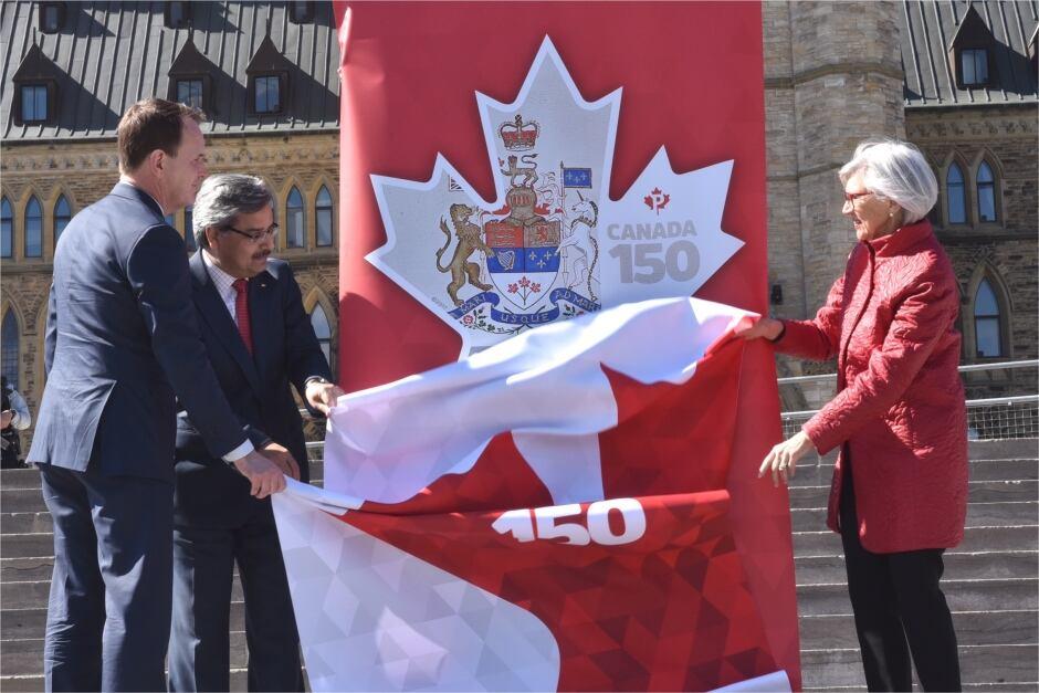 Unveiling the Canada 150 stamp celebrating Canada's Constitution