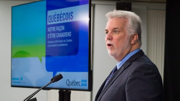 Premier Philippe Couillard unveiled a policy on Quebec's role in Canada at a news conference Thursday.