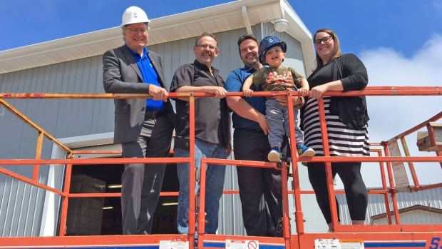 Premier Wade MacLauchlan announced workforce initiatives in the construction sector with Sam Sanderson of the Construction Association of P.E.I., Lucas and Maverick Arsenault of Arsenault Bros. Construction, and Jillian Kilfoil of Women's Network.