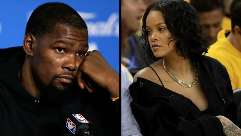 66727bbeccb7 Rihanna heckles Durant in Game 1