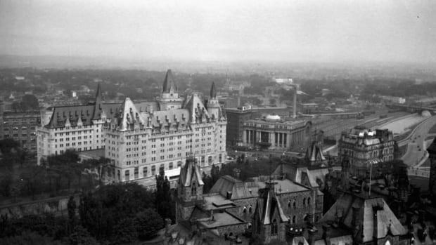 The Château Laurier is seen from Parliament Hill in this photo from 1925. This year marks the iconic Ottawa hotel's 105th birthday.