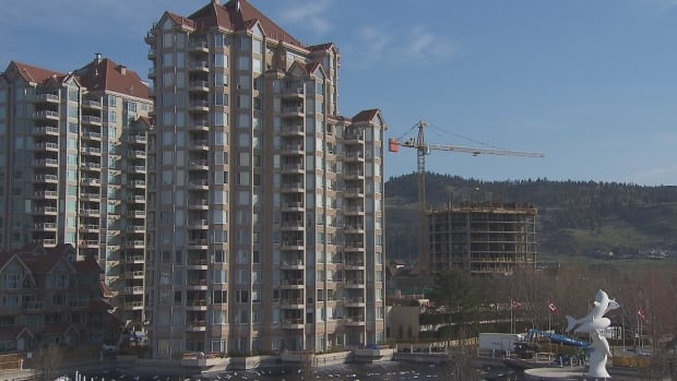 A Kelowna apartment complex is built during the summer. Businesses and local officials say the inability for some employees to find housing in the Central Okanagan is hurting employment.