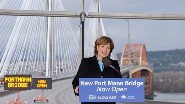 "B.C. Premier Christy Clark opened the Port Mann Bridge Dec. 1, 2012 saying the project was ""on budget"" and would save commuters up to an hour a day."