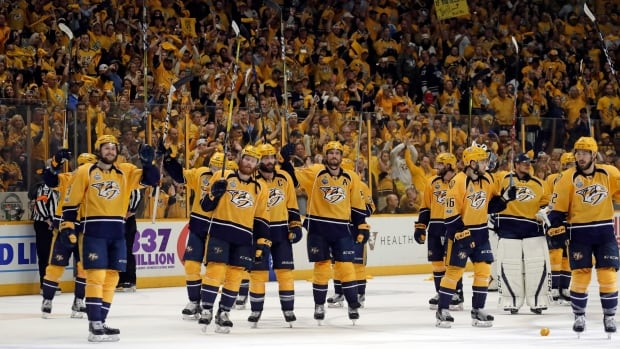 Predators players salute the fans after Game 3 of the Stanley Cup final, a game nearly 20 years in the making.