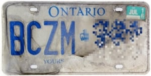 Ontario faded license plate
