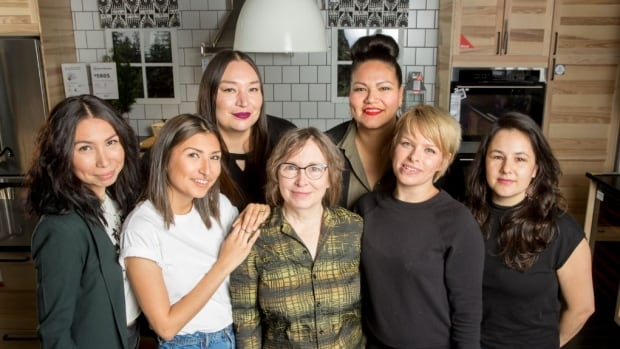 The makers behind Setsuné Indigenous Fashion Incubator's collaboration with Ikea. From left to right: Sage Paul, Skye Paul, Theresa Stevenson, production mentor Shawn Grey, Rosary Spence, Jodi Lynn Maracle, and Erika Iserhoff.