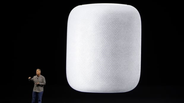 Phil Schiller, Apple's senior vice-president of worldwide marketing, introduces the HomePod speaker at the Apple Worldwide Developers Conference.