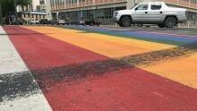 Rainbow crosswalks tire marks Saskatoon