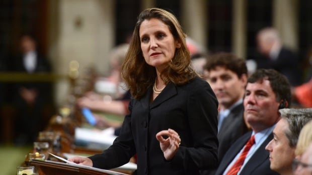 Foreign Affairs Minister Chrystia Freeland delivers a speech on Canada's foreign policy in the House of Commons Tuesday.