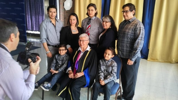 Elder Rita Corbiere of Wikwemikong Unceded Reserve on Manitoulin Island with her family while being honoured by Laurentian University in June for her efforts in preserving Indigenous language. The latest census numbers show Indigenous languages are on the rise, as are Indigenous populations.