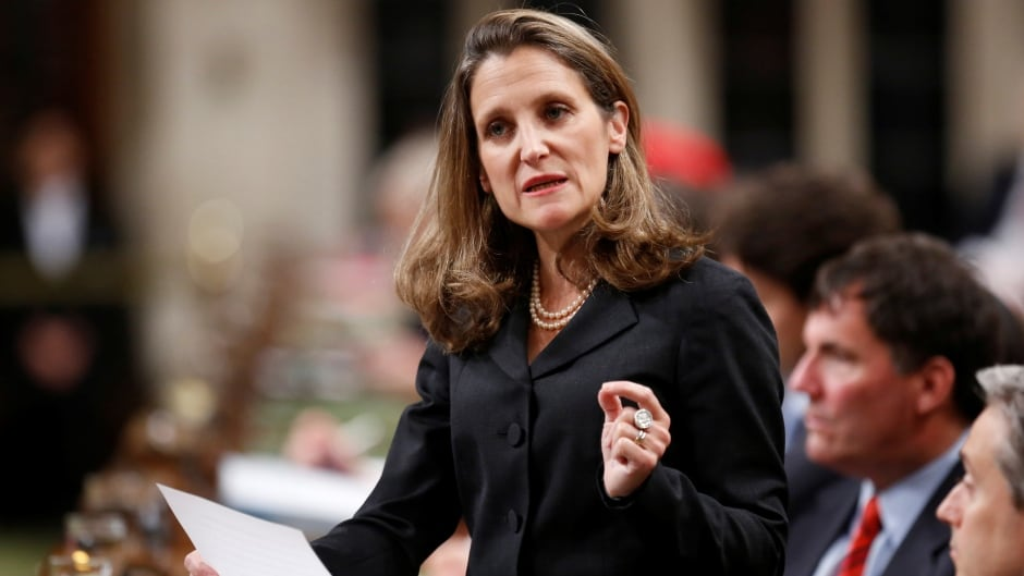 Foreign Affairs Minister Chrystia Freeland delivers a speech on Canada's foreign policy in the House of Commons on June 6, 2017.