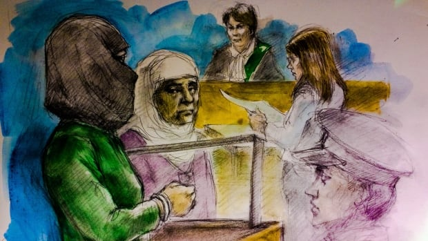 A woman accused of assault and threatening people with a knife in a Canadian Tire store in Scarborough, Ont., appeared in court on Tuesday. This sketch made June 6 shows, left to right: the accused Rehab Dughmosh, an Arabic interpreter, Justice of the Peace Alice Napier, and Crown attorney Candice Suter.