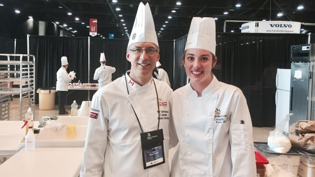 Karis DeKwant (right) and her baking mentor and coach Alan Dumonceaux at the 2017 Skills Canada National Competition in Winnipeg.