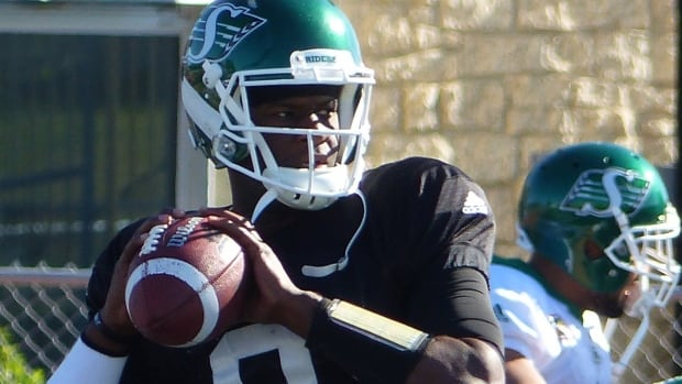 Vince Young at Riders training camp on Tuesday prior to suffering a hamstring injury.