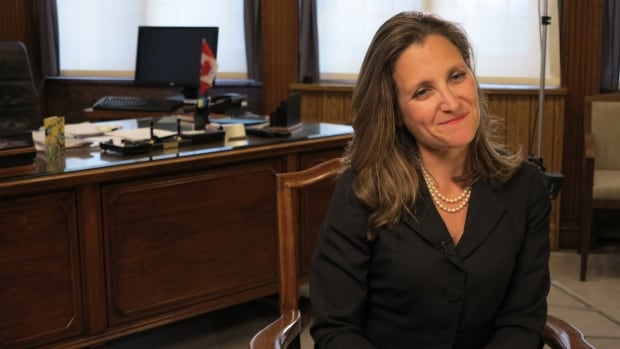 Foreign Minister Chrystia Freeland sits down with CBC News in her office on Parliament Hill on Tuesday after her speech in the Commons.