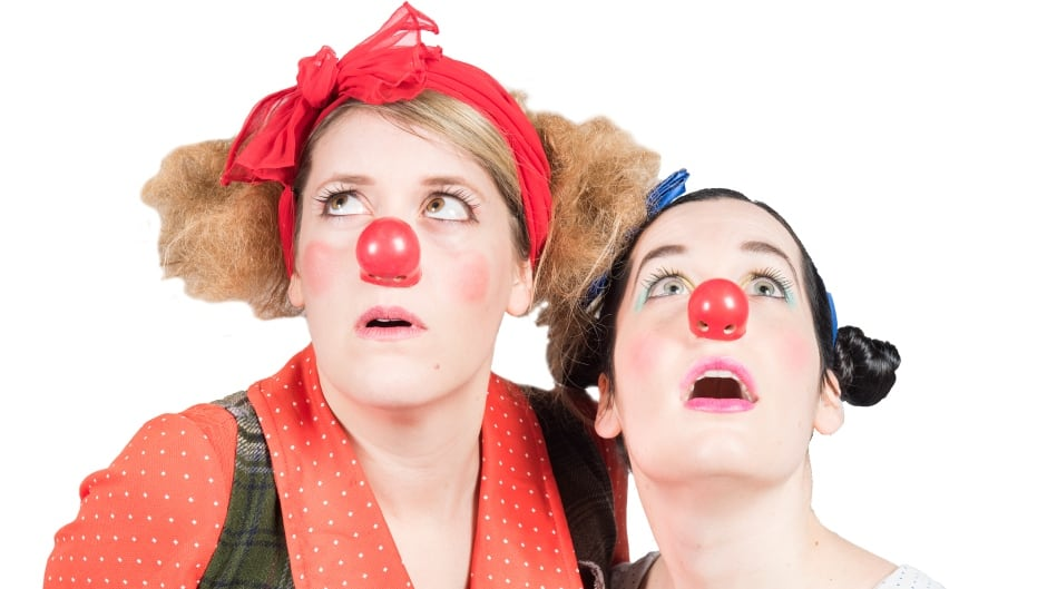 Heather Annis and Amy Lee perform as clown duo Morro and Jasp