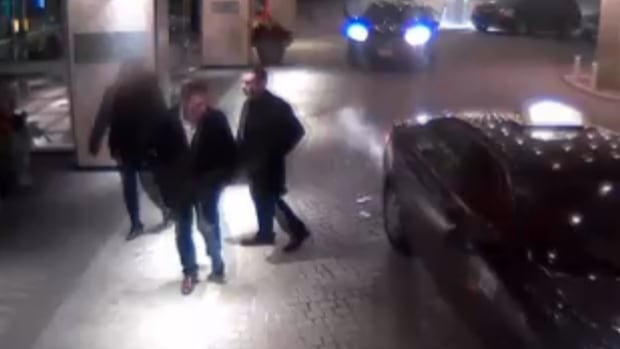 Video evidence from the trial shows the complainant and two of the defendants arriving at Toronto's Westin Harbour Castle hotel, where the assault allegedly occurred.