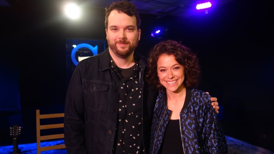 Orphan Black star Tatiana Maslany and Tom Power in the q studios in Toronto, Ont.