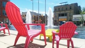 Kitchener City Hall chairs sunny day weather sunshine June spring summer