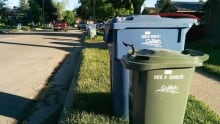 Guelph garbage bins blue green recycling compost