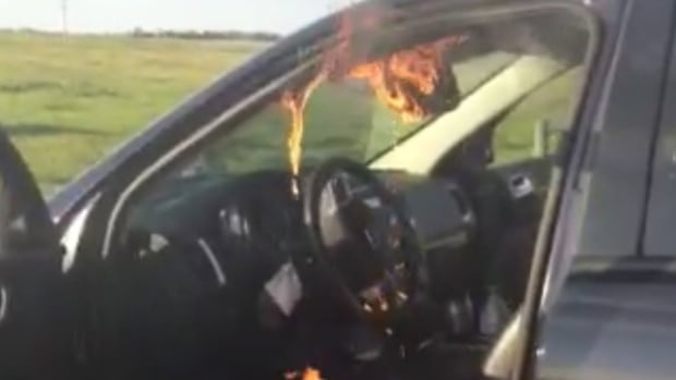 Jill Morrison captured video of her 2011 Dodge Durango after the smoke started billowing out of the driver's side visor area.