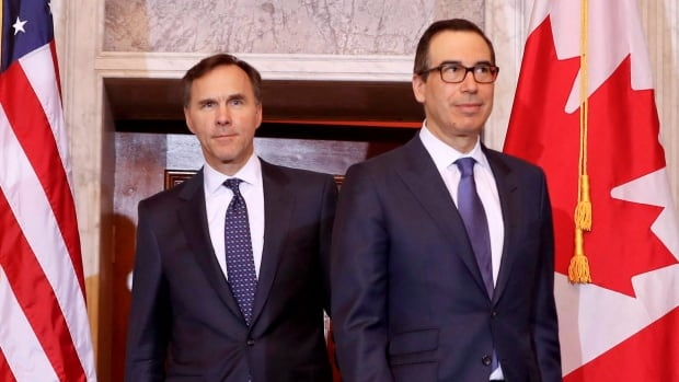 Finance Minister Bill Morneau (left) was U.S. Treasury Secretary Steven Mnuchin's first international counterpart to meet with him in Washington in March. Now Mnuchin's in Ottawa to return the visit.