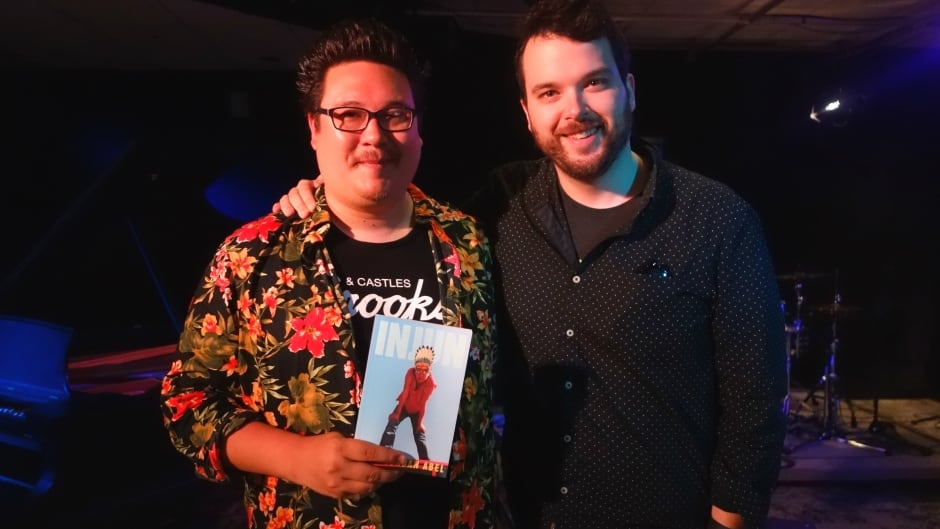 Griffin Poetry Prize winner Jordan Abel and Tom Power in the q studios in Toronto, Ont.