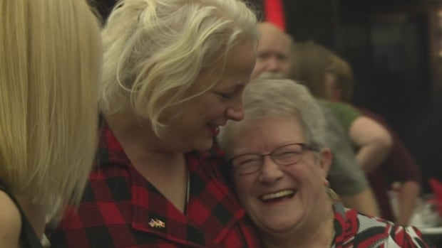 Astrid Van Wieren and Beulah Cooper who she plays in Come From Away