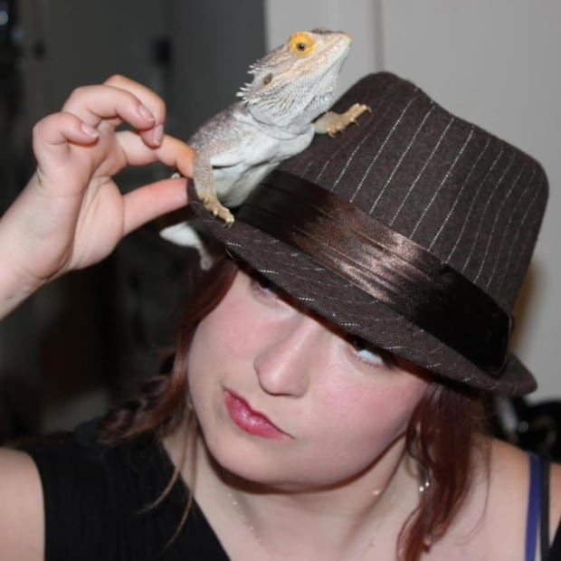 Blogger Sophia Ball with Yoshi, a friend's bearded dragon.