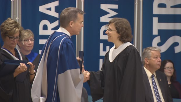 Meunier accepts her degree from the Nova Scotia community College.
