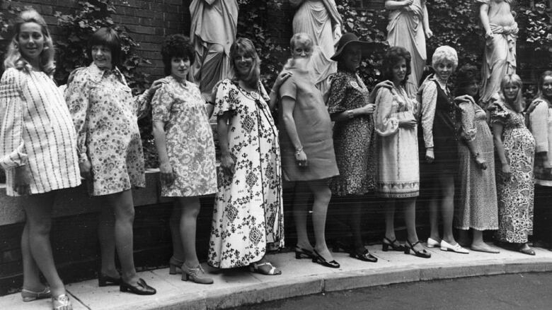 d67b7b047f A line-up of  mothers to be  participate in a  Mother-To-Be Of The Year   fashion competition in 1971. (Hulton Archive Getty Images)