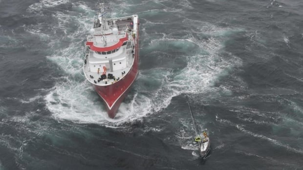The Thor Magni rescued two crew members about 460 kilometres east of St. John's.