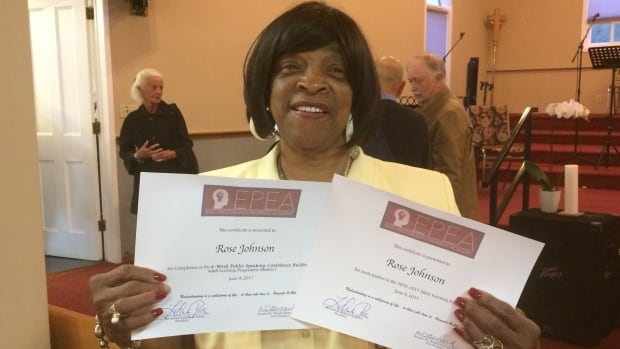 """Rose Johnson, 74, graduated from the East Preston Empowerment Academy with these words of advice: """"If you stop school, go back and finish your education and learn more."""""""