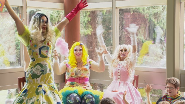 Edmonton drag queens enthusiastically lead story time on Sunday at the Edmonton Public Library in Old Strathcona.