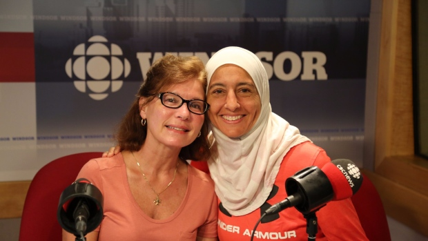 Instructor Surria Fadel with gym member Cathie Russo. For the past 3 years, Russo has joined Fadel by fasting during Ramadan.