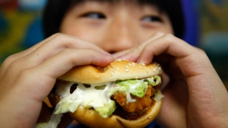 boy poses with a chicken burger at a fast food outlet in Taipei in this 2010 file photo