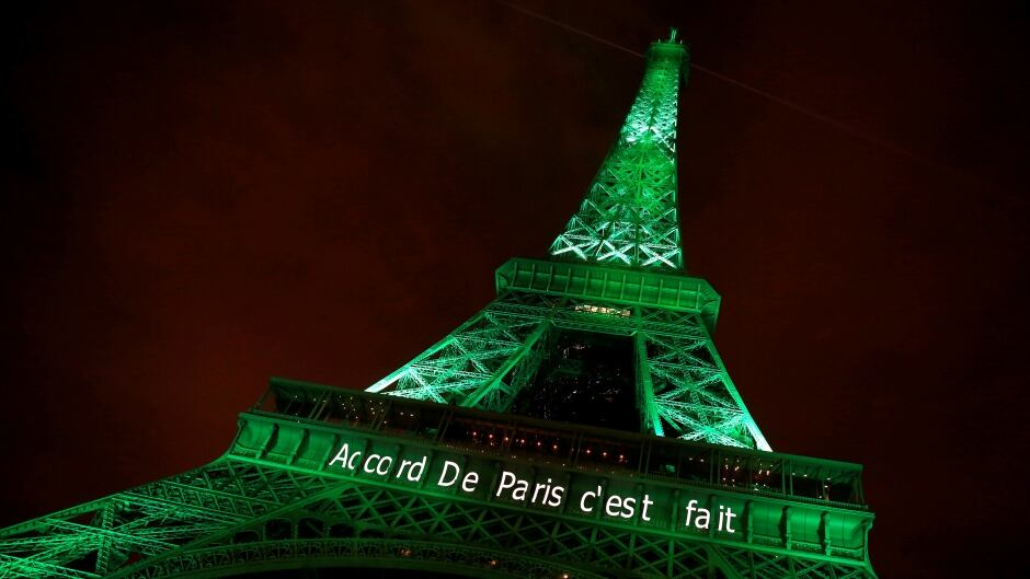 The Eiffel tower is illuminated in green with the words 'Paris Agreement is Done' on Nov. 4, 2016. Only three UN members have opted not to sign one: Syria, Nicaragua and the United States.