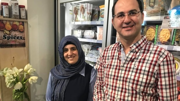 Ibrahim Hajibrahim and Ranim Khochkar came to Canada as refugees in 2016. They now make Syrian food and have a food company called Saraya Hot Bread in Victoria, B.C.