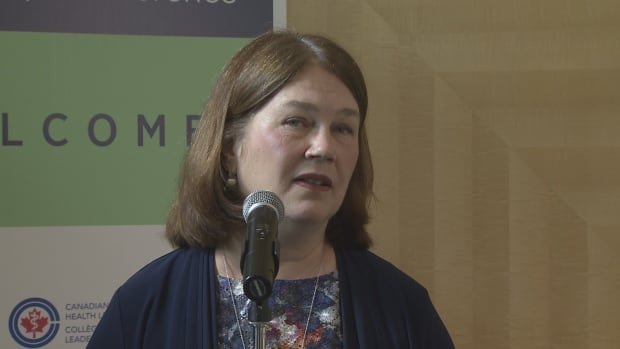 Jane Philpott speaking to reporters outside the National Health Leadership Conference in Vancouver, B.C.