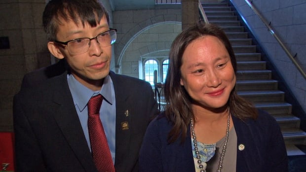 "Liberal MP Arnold Chan and his wife, Jean Yip, spoke with reporters on Parliament Hill after Chan's speech in the House in June. In a statement Thursday, Yip said her husband was ""a loving father, wonderful husband and dedicated public servant."""