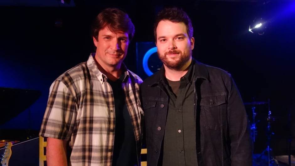 Actor Nathan Fillion and Tom Power in the q studios in Toronto, Ont.