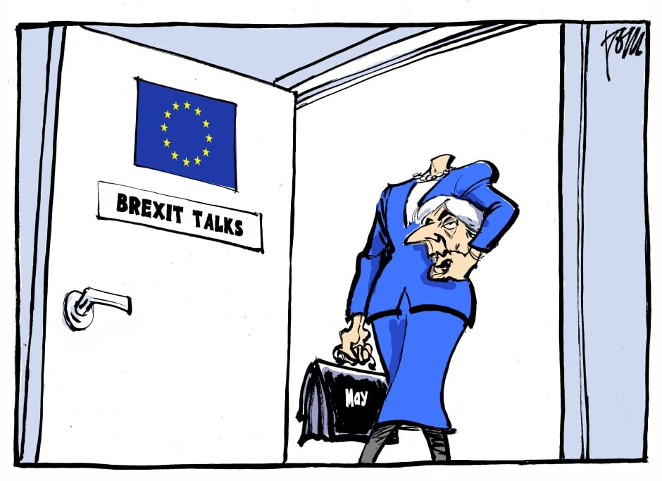 Tom Janssen brexit talks theresa may cartoon