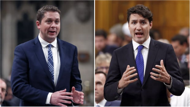 Andrew Scheer's Conservatives trail Justin Trudeau's Liberals in the polls.