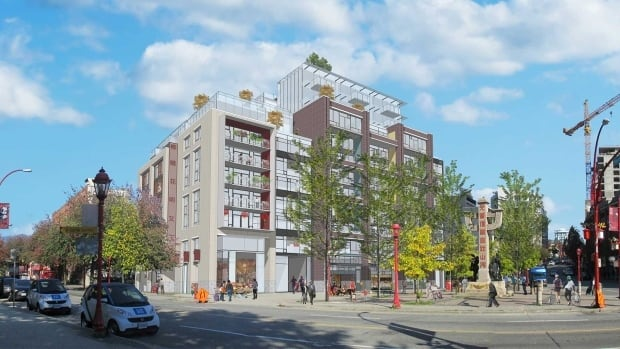 Artist's rendering of the residential tower Beedie Development wanted to build at 105 Keefer St., Vancouver's Chinatown. The developers have submitted new plans to the city for a smaller building.